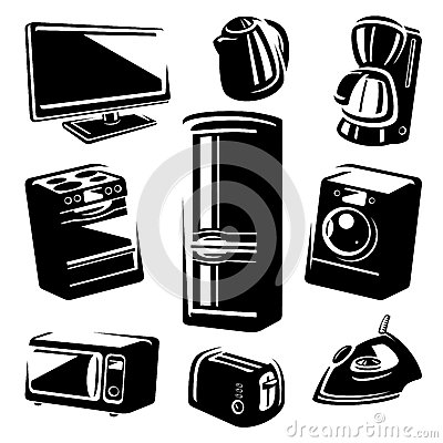 Household electronic set. Vector