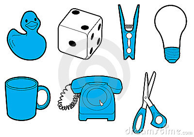 Household icons in blue