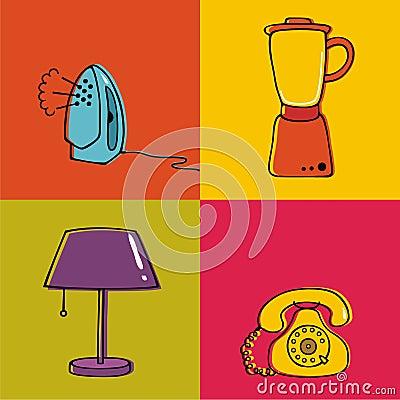 Household items, lamp, blender, telephone, iron