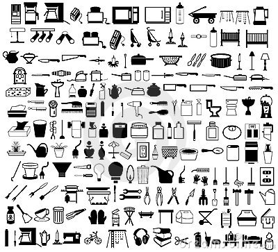 Free Household Items Set Royalty Free Stock Image - 12352556