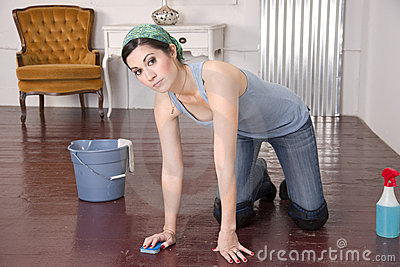 Maid Housekeepers Washes Wood Floor Hands Knees
