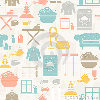 Free Housekeeping Seamless Pattern Stock Images - 43184584