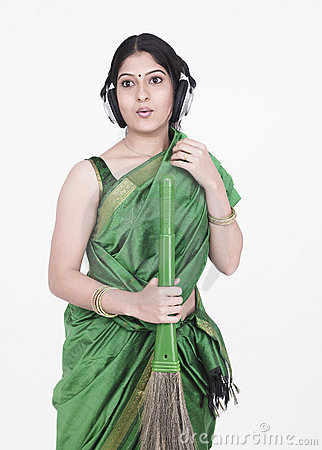 Housemaid with headphones
