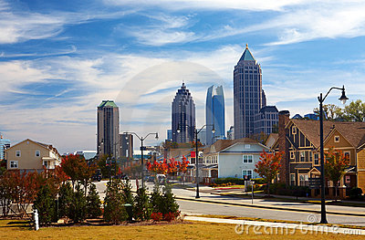 Houses Against The Midtown. Atlanta, GA. USA. Royalty Free Stock Photos - Image: 17089218