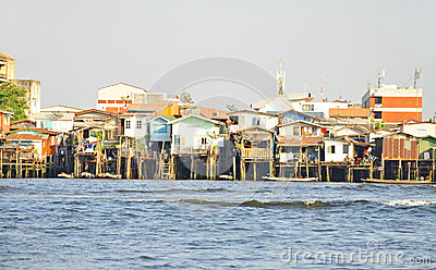 Houses along the Chao Phraya River.