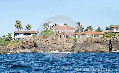 Houses along the coastline at Unawatuna, Sri Lanka