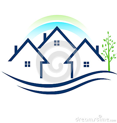 Houses apartments with tree logo stock image image 25050581 for Apartment logo design