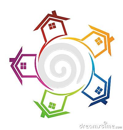 Houses around a circle logo