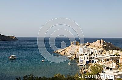 Houses built rock cliffs  Firopotamos Milos