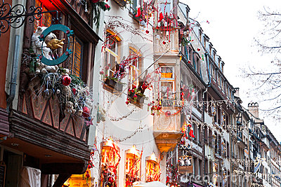 Houses with christmas decoration