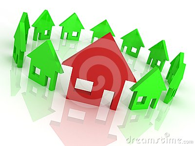 Houses circle on white, home choice concept