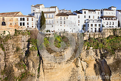 Houses on a Cliff in Ronda Town