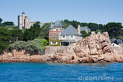 Houses at coast of Ile de Brehat, Brittany, France