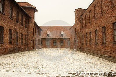 Houses in concentration camp Editorial Stock Photo