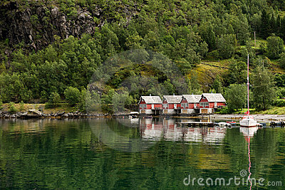 Houses at the fjord shore, Norway