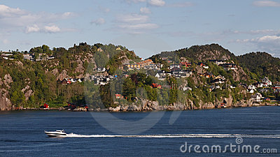 Houses at Fjord Shoreline near Bergen, Norway