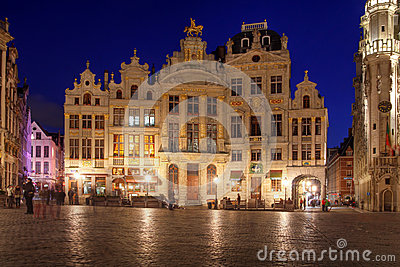 Houses in Grand Place, Brussels, Belgium Editorial Stock Image