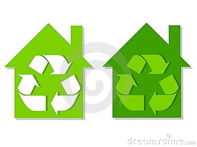 Houses Green Recycle Symbols
