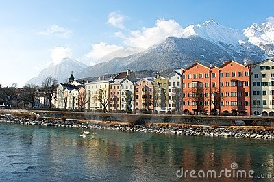 Houses in the historical city Innsbruck in Tirol Editorial Stock Image