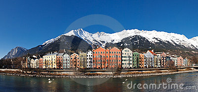 Houses at Inn Riverside, Innsbruck, Austria