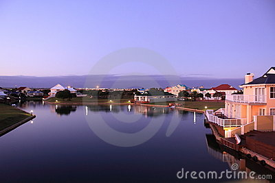 Luxury houses and lake Editorial Stock Image