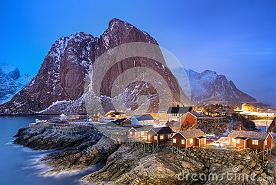 Houses in the Lofoten islands bay Stock Photo