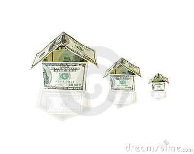 Houses made from dollar bills