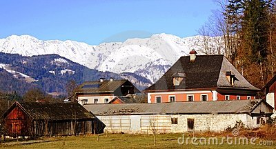 Houses and Mountain with Snow at Salzkammergut
