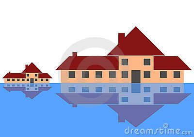 Houses next to a lake