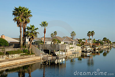 Houses on Padre Island, Texas USA