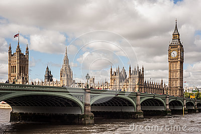 The Houses of Parliament, the Big Ben and Westminster Bridge in London Editorial Photography