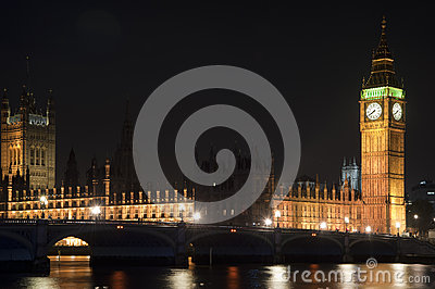 Houses of Parliament, Big Ben and Westminster Bridge at night in