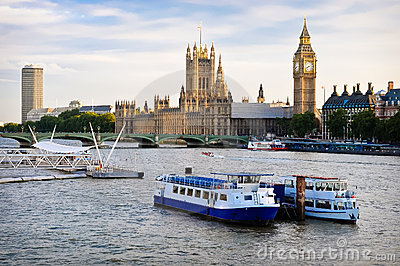 Houses Of Parliament, with boats in foreground