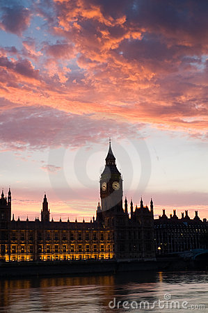 Houses of parliament at sunset, P