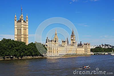 Houses of Parliament and Thames Editorial Photo