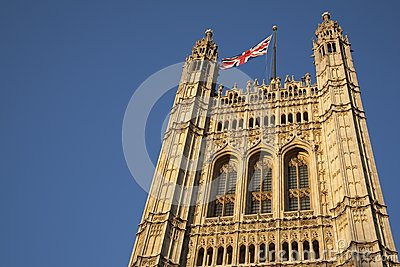 Houses of Parliament with the Union Jack Flag, London
