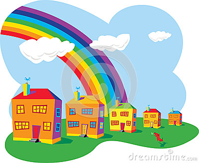 Houses and rainbow