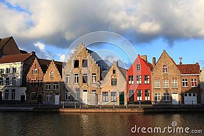 Houses at the riverside, Bruges