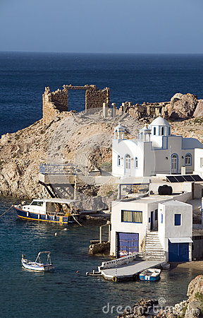 Houses rock cliffs  Firopotamos Milos