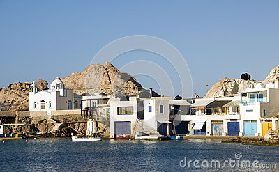 Houses rock cliffs  Mediterranean Sea Firop