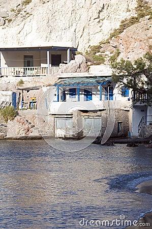 Houses rock cliffs  Mediterranean Sea Firop