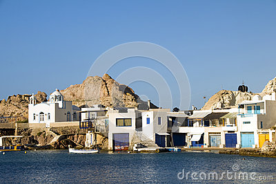 Houses rock cliffs Mediterranean Sea Milos