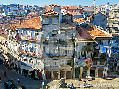 Houses Rua Escura in Porto Editorial Photo
