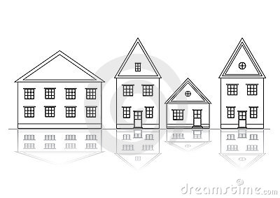 Houses set. Outlined view.