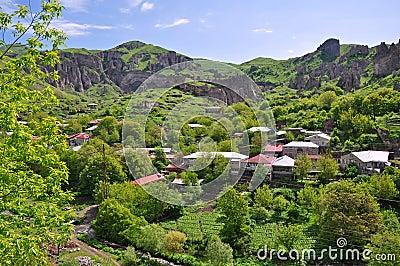Houses on slope in Armenia