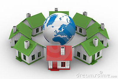 Houses standing around globe on white background