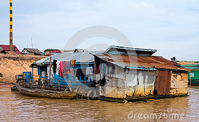 Houses on stilts on Lake Tonle Sap Cambodia