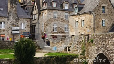 Houses at the street of Dinan stock video