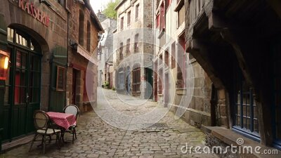 Houses at the street of Dinan stock footage