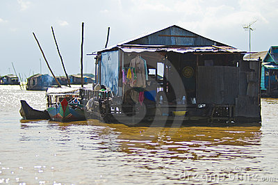 Houses from Tonle Sap, Cambodia Editorial Image